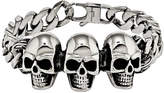 FINE JEWELRY Mens Stainless Steel Antiqued Skull Chain Bracelet