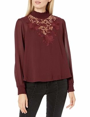 ASTR the Label Women's Claire Embroidered Woven Top