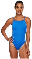 Speedo Endurance+ Flyback Training Suit Blue) Women's Swimsuits One Piece