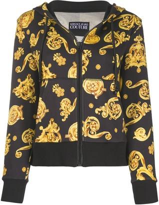 Versace Barocco print zip hoodie