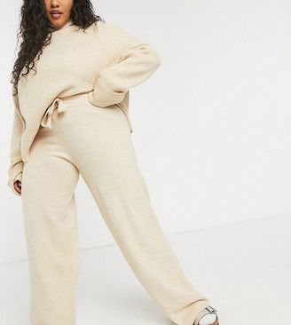 ASOS DESIGN Curve co-ord wide leg knitted trouser with tie waist detail in camel