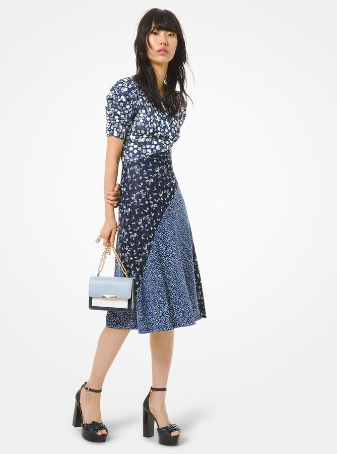 MICHAEL Michael Kors Mixed Floral Matte Jersey Ruched-Sleeve Dress