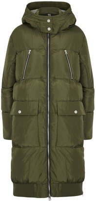 Free People Oslo Army Green Quilted Shell Coat