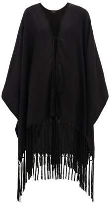 Saint Laurent Suede-tasselled Cashmere Poncho - Womens - Black