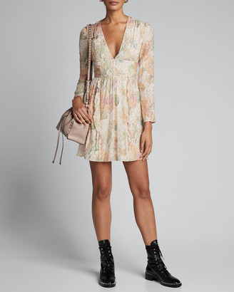 RED Valentino Floral Evanescent V-Neck Long-Sleeve Mini Dress