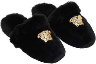 Versace Medusa Faux Fur Slippers