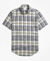Brooks Brothers Regent Fit Large Plaid Irish Linen Short-Sleeve Sport Shirt
