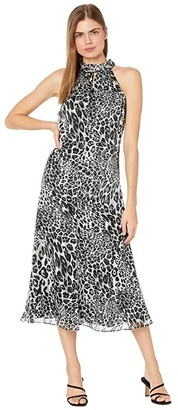 Milly Adrian Metallic Stripe Leopard Burnout Dress (Grey) Women's Clothing