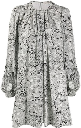 Alexander McQueen Graphic Floral-Print Balloon-Sleeve Dress