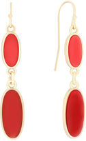 Liz Claiborne Coral Acrylic Stone Gold-Tone Double Drop Earrings