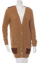 Salvatore Ferragamo Camel & Silk V-Neck Cardigan