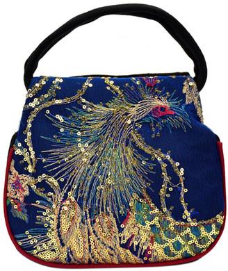 Ella & Elly Women's Handbags Blue - Blue Sequin Embroidered Peacock Satchel