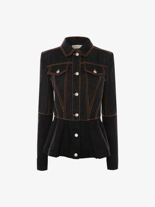 Alexander McQueen Bi-Color Peplum Denim Jacket