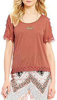Takara Crochet Lace Trim Short-Sleeve High-Low Necklace Top