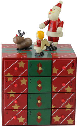 Northlight 10In Red & Green Decorative Elegant Advent Storage Calendar Box