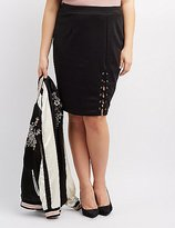 Charlotte Russe Plus Size Lace-Up Pencil Skirt