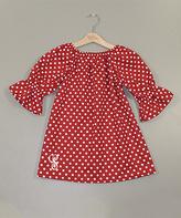 Princess Linens Red Polka Dot Initial Peasant Dress - Infant, Toddler & Girls