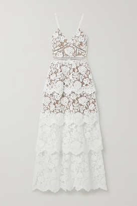 Self-Portrait Crochet-trimmed Tiered Corded Lace Gown - Ivory