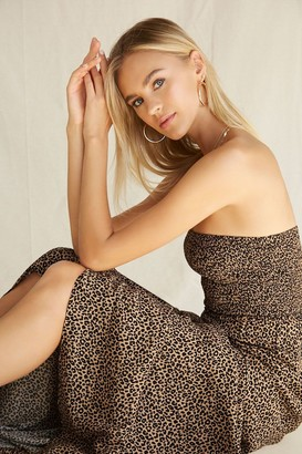 Forever 21 Leopard Smocked-Bodice Maxi Dress