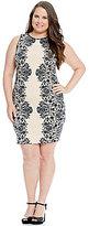 B. Darlin Plus Lace Print Sheath Dress