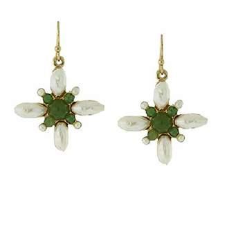 1928 Jewelry Gold-Tone Pearl and Semi-Precious Stone Drop Earrings