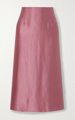 Vince Asymmetric Hammered Silk-satin Midi Skirt - Pink