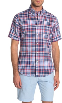 Brooks Brothers Regent Plaid Short Sleeve Linen Slim Fit Shirt
