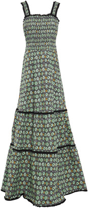 Isolda Broderie Anglaise-trimmed Printed Stretch-cotton Poplin Maxi Dress