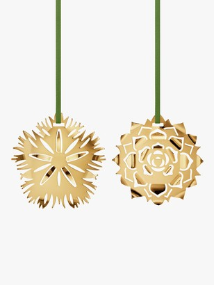Georg Jensen Cut-Out Ice Flower Christmas Tree Decorations, Set of 2, Gold