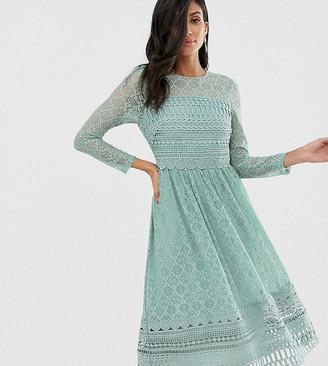Asos Tall ASOS DESIGN Tall premium lace midi skater dress in sage green