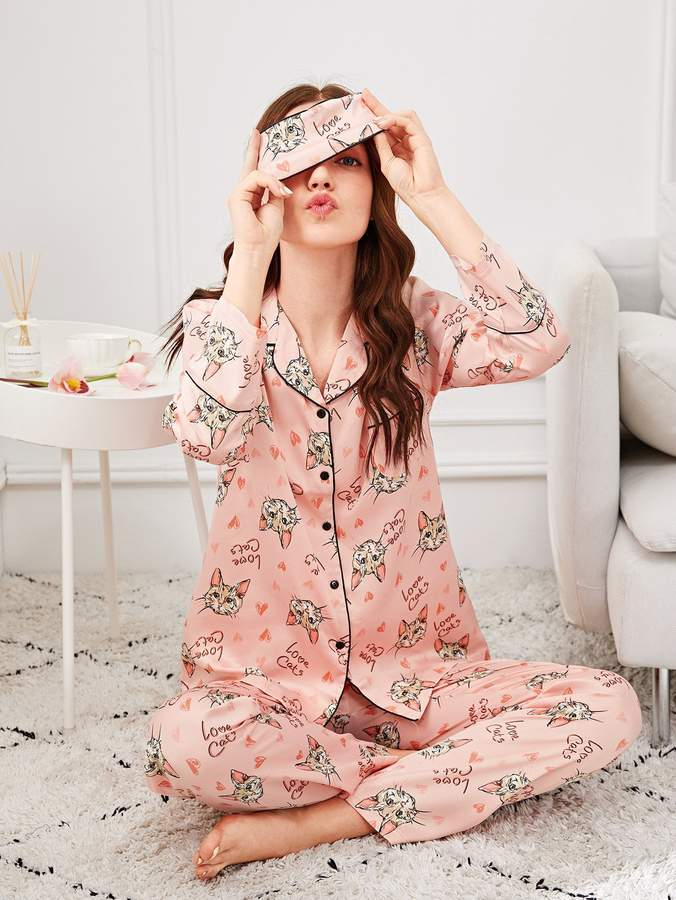 Allover Cat Print Pajama Set With Eye Mask