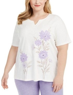 Alfred Dunner Plus Size Nantucket Embroidered T-Shirt