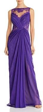 Tadashi Shoji Pleated Overlay Illusion Lace Gown