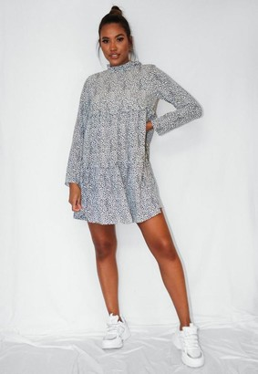 Missguided White Dalmatian Print High Neck Tiered Smock Dress