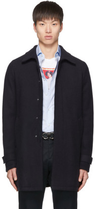 Herno Navy Wool Laser Cut Overcoat