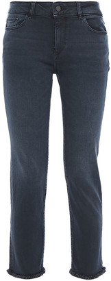 DL1961 Cropped Frayed Mid-rise Skinny Jeans