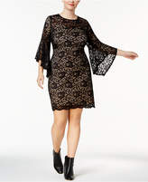 Love Squared Trendy Plus Size Bell-Sleeve Lace Dress