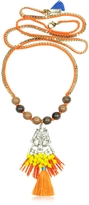 Rada' Radà Golden Chain and Orange Satin Long Necklace w/ Pendant