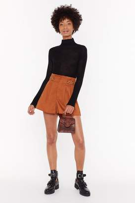 Nasty Gal Womens Sweet Button Savage High-Waisted Shorts - brown - 6