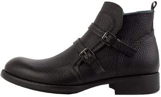 Perks Black Double Monk Ankle Boots