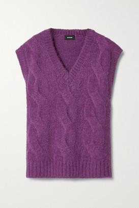 we11done Oversized Appliqued Cable-knit Vest - Violet