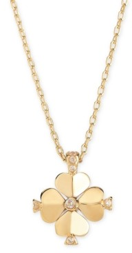 """Kate Spade Gold-Tone Crystal Flower 19"""" Pendant Necklace"""