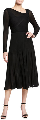 St. John Micro Ottoman Knit Dress with Drape Pleat Detail