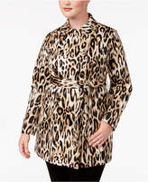 INC International Concepts Plus Size Animal-Print Trench Coat, Created for Macy's