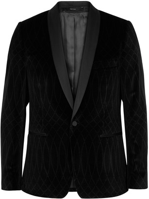 Paul Smith Black Printed Velvet Tuxedo Jacket