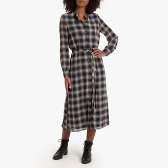 La Redoute Collections Checked Buttoned Midaxi Dress with Tie-Waist and Long Sleeves