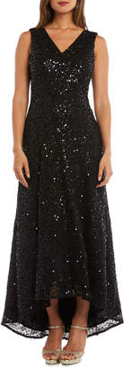 Night Way Nightway Sequin V-Neck Sleeveless High-Low Gown