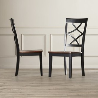Charlton Home Ari Cross back Side Chair in Espresso