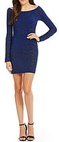 Jump Long Sleeve Glitter Chevron Slinky Sheath Dress