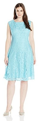 Julian Taylor Women's Plus Size Cap Sleeved Seam Down Lace Dress